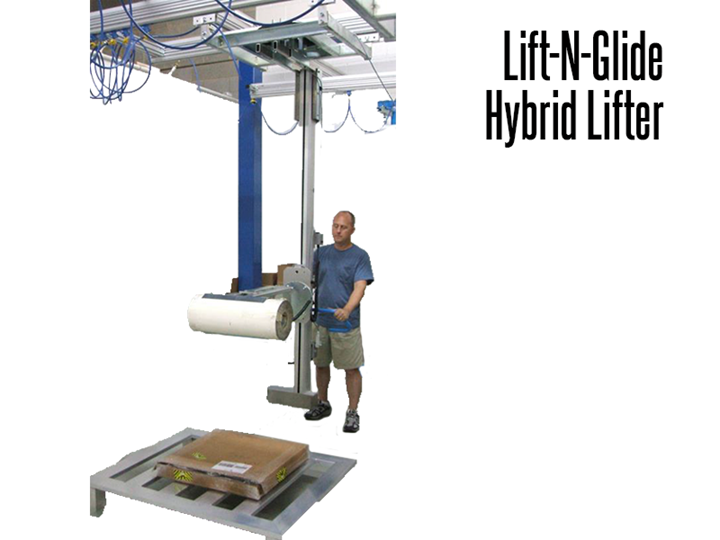 Lift-N-Glide™ Ergonomic Lifters with Expand-O-Turn™ for Roll Handling Operations is suspended from a bridge crane system. This design is ideal for a variety of product handling needs.