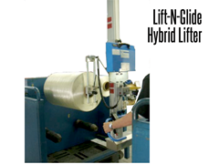 Lift-O-Flex Lift-N-Glide is shown with a probe attachment holds an oversized roll.
