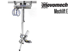 The Mechlift E is an electric ergonomic lift designed to be used with one of RonI's expandable, lightweight floor or ceiling mounted anodized aluminum rail systems (Mechrail).