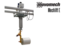 The Mechlift E shown with probe tooling, for lifting, rotating and handling rolls such as cable rolls, mat rolls, etc.
