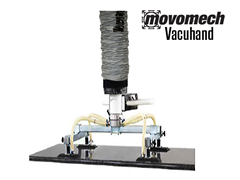The Vacuhand Tube Lift can be mounted to a Mobi-Crane jib crane or to a Movomech rail mounting industrial manipulator