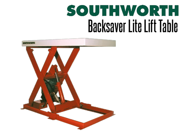 The Backsaver Lite Lift Table is an economical way to eliminate manual lifting and positioning.