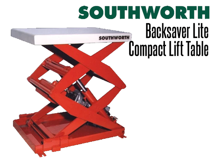 "Backsaver Lite Compact Lift Tables features a double scissor mechanism to provide a full 36"" of lifting height in a very small 12"" x 24"" footprint"
