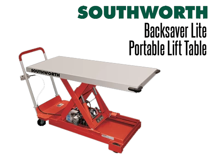 The Backsaver Lite Portable Lift Table features internal DC powered portable lift tables with chargers with hallmark integral charges with push button controls to raise and lower loads.
