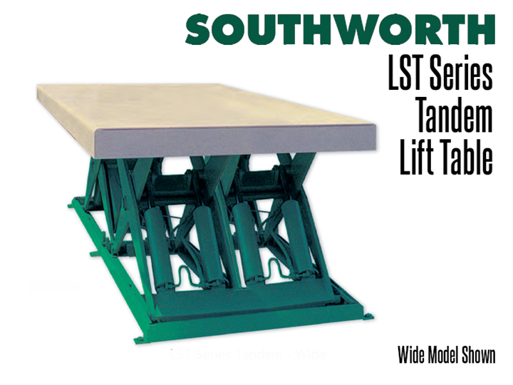 LST Tandem lifts provide level rise for long loads such as lumber, pipes, sheets, bar stock, and assemblies.