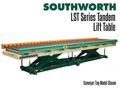 LST Series Tandem Lift Tables are wide and give level rise for long loads such as lumber, pipes, sheets, bar stock, and assemblies.  Conveyor top shown.