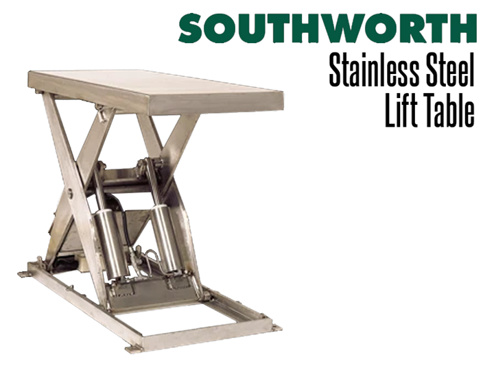 Southworth stainless steel lift tables are used in applications requiring sanitary washdown frames.