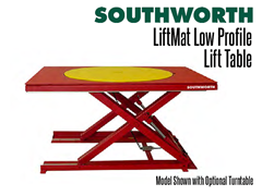 LiftMat low profile lift tables shown with optional turntable