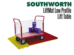 Carts are easily moved onto the LiftMat Low Profile Lift Table using the optional loading ramp