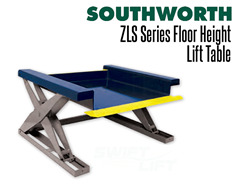 The ZLS Series low profile lift table features a pan-style platform that allows loading by hand pallet trucks.