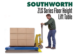 The ZLS Series low profile lift table has a pan-style platform that lowers to the floor or near floor height so that items can be fed and offloaded by hand pallet trucks
