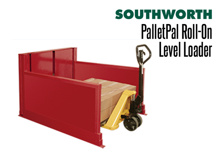 The PalletPal Roll–On Level Loader is a hydraulic pallet handler that lowers to floor height so pallets can easily be loaded and lifted with a lift truck.