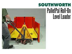 A PalletPal Roll-On Level Loader can be moved with a hand pallet jack.