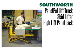 A PalletPal Lift Truck is utilized  to feed sheets into a printing press