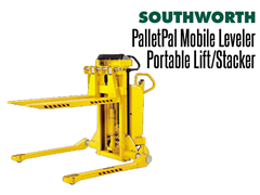 The PalletPal Mobile Leveler can be used as a mobile lift table, mobile pallet lift, mobile pallet positioner or as a feed unit with other PalletPal levelers.