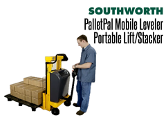 The PalletPal Mobile Leveler can deliver and remove loads quickly and easily without the expense of a ride-on fork truck. The straddle design accepts any pallet or skid.