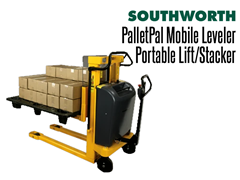 The PalletPal Mobile Leveler can lift and lower loads at the touch of a button
