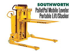 The PalletPal Mobile Leveler is available in fork over or straddle styles
