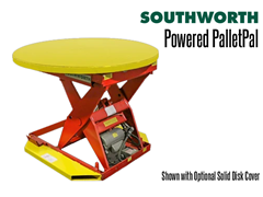 Powered PalletPal Level Loaders/Pallet Lifts have an optional solid disc cover