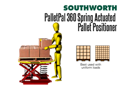 The PalletPal 360 has a turntable top which allows for easy loading and unloading.  No power or air supply is required.
