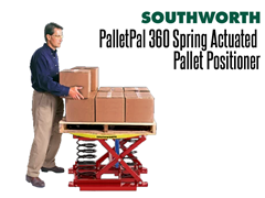 The PalletPal 360 utilizes a simple, automatic load leveler which uses a system of springs and shock absobers to raise and lower loads as boxes are added or removed from pallets.