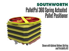 The PalletPal 360 shown with optional bellows skirting and portability kit