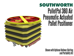 The PalletPal 360 Air shown with optional bellows skirting and portability kit