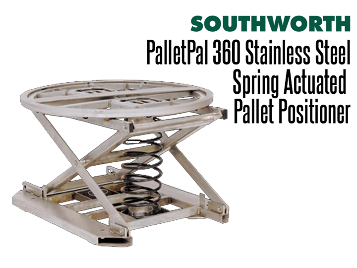 The Stainless Steel PalletPal 360 showcases all of the benefits of the  PalletPal 360 Spring level loader in a washdown, stainless steel version.