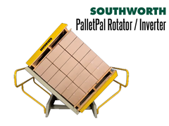 The PalletPal Pallet Rotator is designed to invert entire pallet loads and eliminates the need for manually re-stacking pallets.