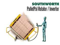 PalletPal Pallet Rotators and Skid Turners that are used for transferring skid loads from one skid to another or from a skid to slip sheet.