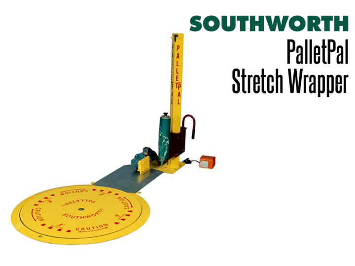 The inexpensive PalletPal Stretch Wrapper incorporates a low-profile powered disc turntable and a stationary mast assembly.