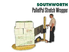 Simply wheel a loaded pallet onto the disc and move the stretch wrapping wand up and down the mast as the powered turntable spins the load on the stretch wrapper
