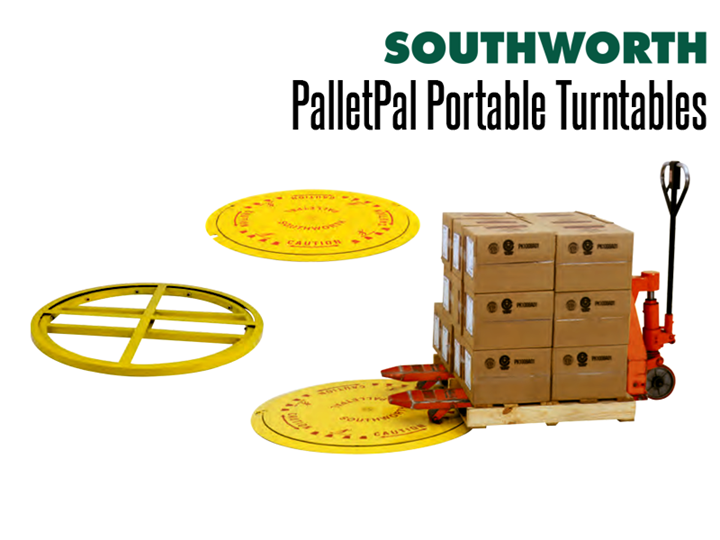 "The PalletPal Disc and PalletPal Floor Ring are floor height pallet turntable discs that are less than 1"" high."