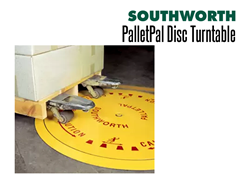 By rotating the load the operator always works from the near side without having to walk around the load using a PalletPal Disc Turntable.