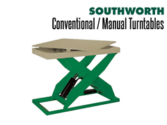 Any Southworth Lift Table can be fitted with a manual turntable top to improve worker productivity and make accessing loads easier.
