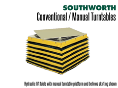 Hydraulic lift table with manual turntable platform and bellows skirting