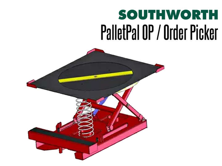 The PalletPal Order Picker (OP) combines the design of a PalletPal Level Loader and modifies it for use with order picking lifts.