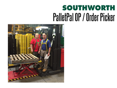 The PalletPal OP fits on the forks and is locked to the order picker by the pallet clamp