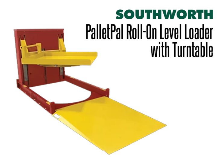 The PalletPal Roll-On Level Loader with Turntable lowers to floor height so pallets can be rolled on and off with a hand pallet truck. The lift is then easily adjusted by pushbutton or foot control to maintain an ideal height for manual loading and unloading.