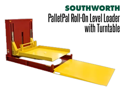 The PalletPal Roll-On Level Loader with Turntable has a Built-in Turntable,  Top Spins Loads for Convenience
