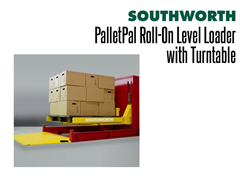 The PalletPal Roll-On Level Loader with Turntable has Operator Controller Height Adjustability