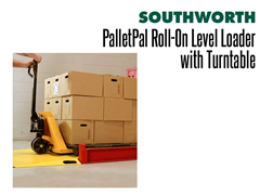The PalletPal Roll-On Level Loader with Turntable Can be Loaded or Unloaded with a Hand Pallet Truck
