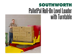The PalletPal Roll-On Level Loader with Turntable Make Loads and Boxes at a Comfortable Height