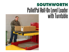 When the Platform is Raised, Even the Bottom Row is Easily Accessible with the PalletPal Roll-On Level Loader with Turntable