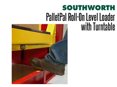 PalletPal Roll-On Level Loader with Turntable Features Photo Sensors Stop Downward Travel When the Beam is Broken
