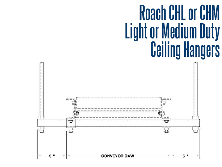Ceiling Hangers provide sturdy means of gaining high conveyor elevations. This accessory is used when there is a need to maximize the utilization of floor space, or when a required height exceeds the floor support capability