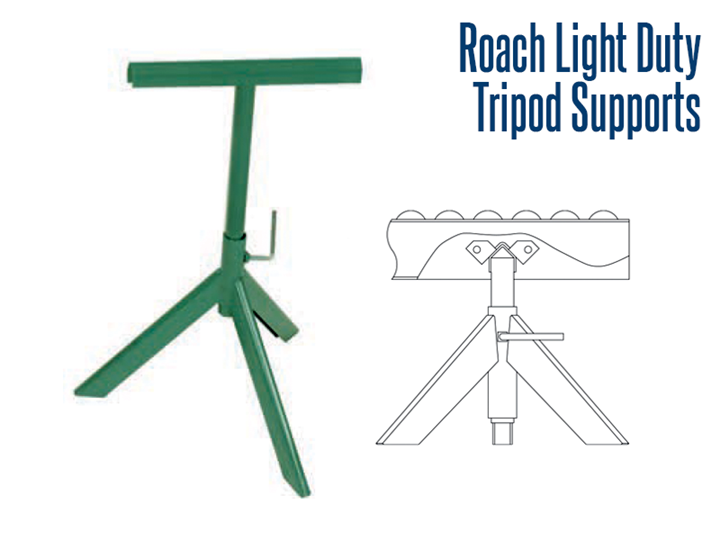 Adjustable tripod supports provide fast set up or temporary support for installations. They are designed to accommodate wheel conveyors and 138 gravity series roller conveyors.