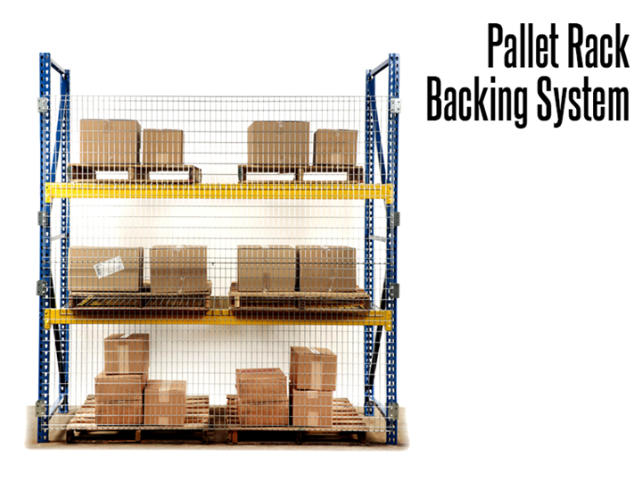 Pallet Rack Backing prevents objects from falling off of overhead storage systems