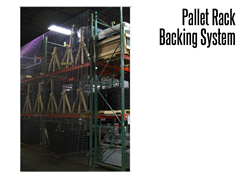 Pallet Rack Backing prevents objects from falling off of pallet rack storage systems