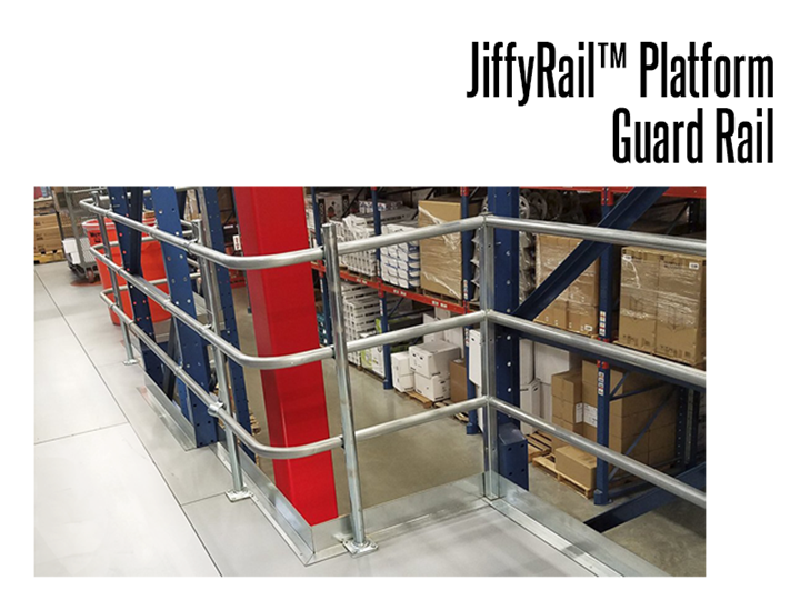 Create any configuration with the JiffyRail modular, economic guard rail system.  Nothing to weld, nothing to thread!